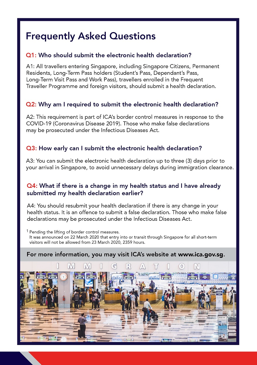FAQs for electronic submission of Health Declaration using SG Arrival Card e-Service