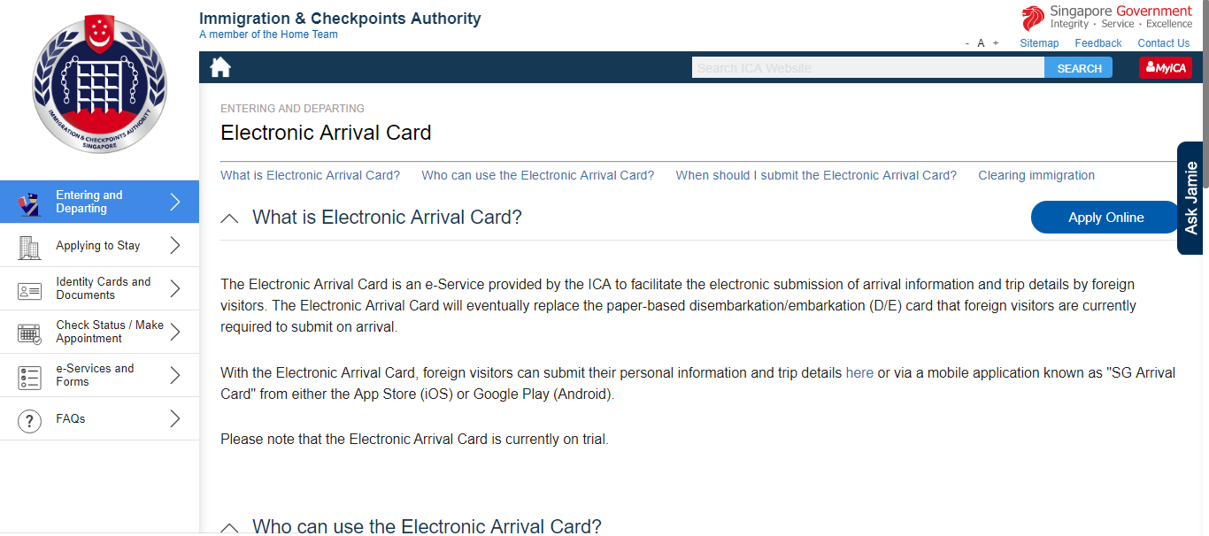 Electronic Arrival Card